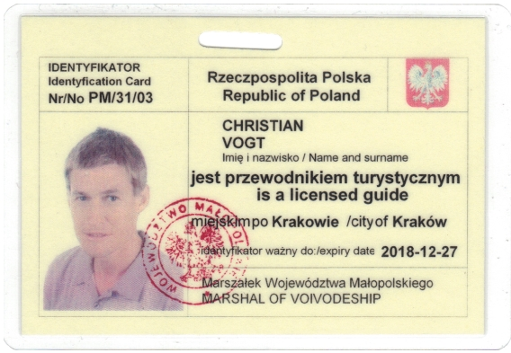 Christian's Cracow tourist guide badge PM/31/03