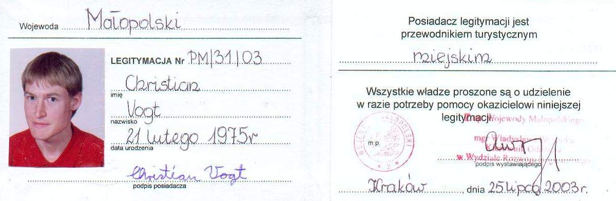 Christian's Cracow tourist guide license PM/31/03